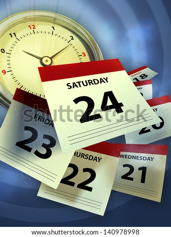 A clock and some calendar sheet symbolizing the passing of time. Digital illustration. - stock photo