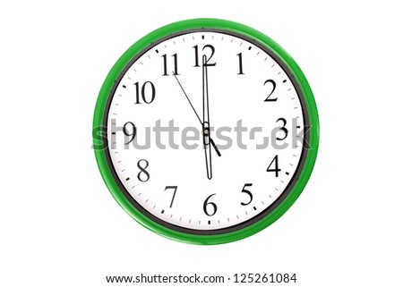 A clock from a serie showing 6 o'clock. Isolated on a white background. - stock photo