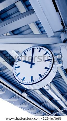 A clock in the railway station, Bangkok - stock photo
