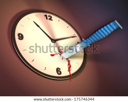 A clock stabbed with a knife. Digital illustration. - stock photo