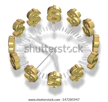 A clock surrounded by golden dollar symbols / Time and money