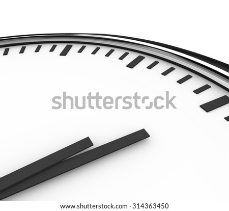 A clock with white face and hands pointing to blank copyspace for placing your words or message - stock photo