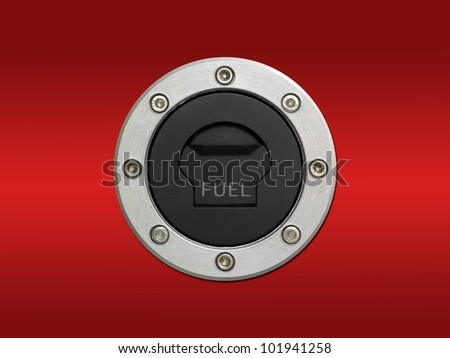A cloe up shot of a fuel tank cover - stock photo