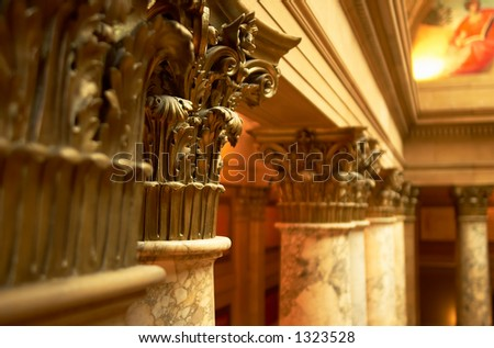 A close look at the beautiful, colorful, and precious marble columns. More with keyword Series002. - stock photo