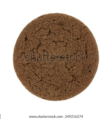 A close overhead view of a single soft tasty Dutch Cocoa cookie on a white background.