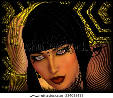 A close up face shot of a modern Egyptian woman is depicted in this abstract digital art rendering. Braided Hair and gold nail extensions complete this fashion look. - stock photo