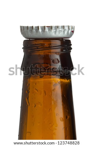 A close-up image of a bottle with cap isolated on a white background - stock photo
