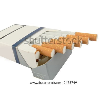 A close up image of a packet of cigarettes. Isolated
