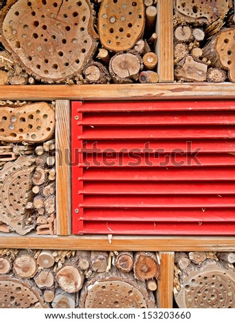 A close-up image of an insect hotel.  - stock photo