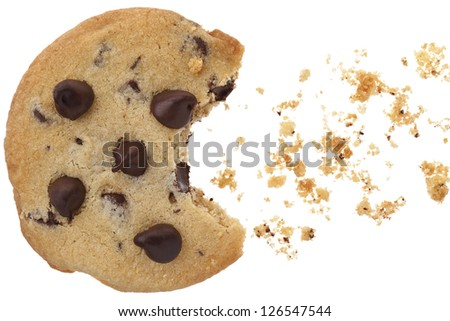 A close-up image of chocolate chip cookies with bite over the white background - stock photo