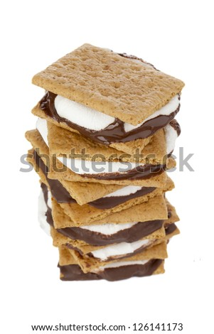 A close up image of smore sandwich against white background