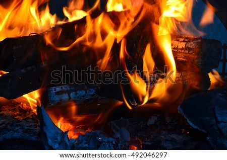 A close up image of the flames from a wood fire.