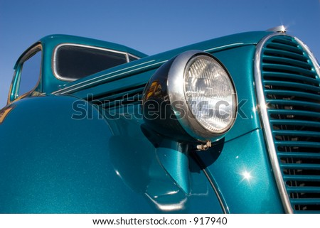 A close up look at an old classic pickup truck - stock photo