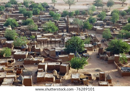 A close up looking down on a Dogon village in Mali - stock photo