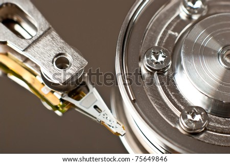 A close up macro of an opened harddrive