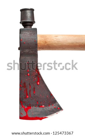 A close-up of a bloody axe blade isolated on white.