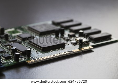 A close up of a computer board