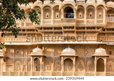 A close up of a facade of an historic building in the Jaisalmer fortress in Rajasthan, India - stock photo