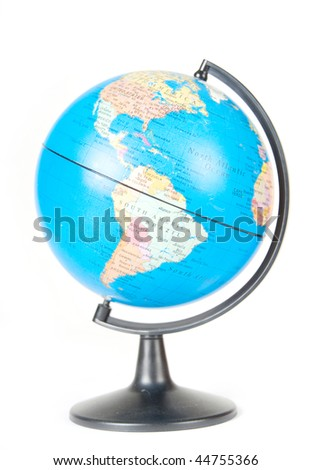 A close-up of a globe, isolated on white - stock photo
