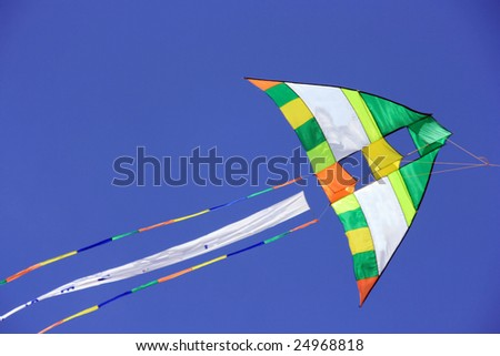 A close up of a kite in the sky