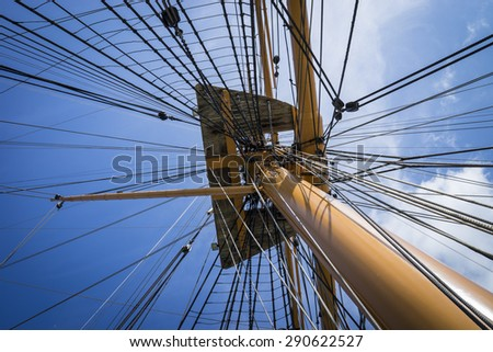 A close up of a mast and rigging at Portsmouth.