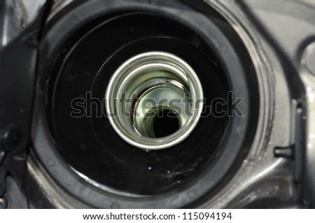 A close up of a petrol cap - stock photo