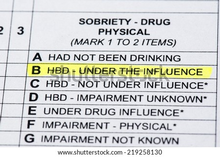 A close up of a police report listing the DUI section