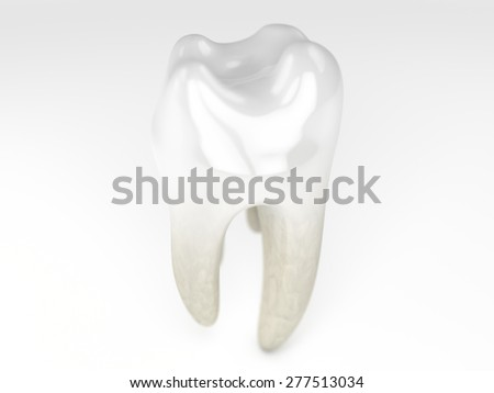 a close up of a rendering of a very white tooth on white background - stock photo