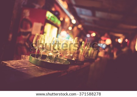 A close up of a ruin bar with drinks in Budapest. - stock photo