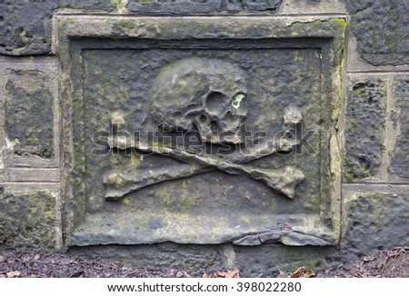 A close-up of a skull on a headstone in a graveyard. - stock photo