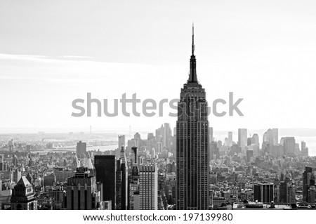 A close-up of a skyscraper in New York City. - stock photo
