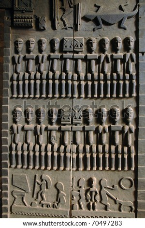 A close up of a traditional hand carved Dogon door & Close Traditional Hand Carved Dogon Door Stock Photo 70497283 ...
