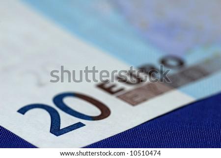 A close-up of a twenty euro bill. - stock photo