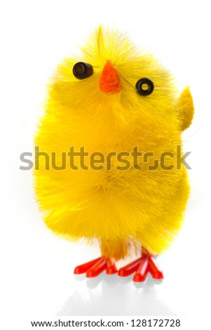 a close-up of a yellow easter chicken