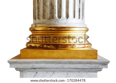 A close-up of an ancient white marble classical column with gold incrustations - stock photo