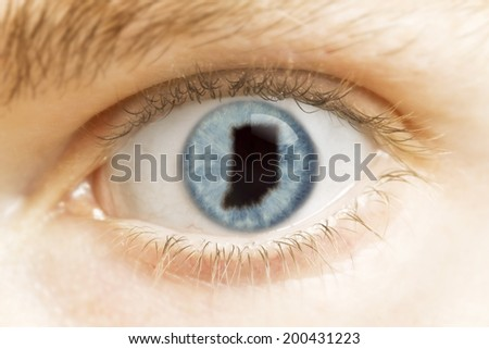 A close-up of an eye with the pupil in the shape of Indiana.(series)