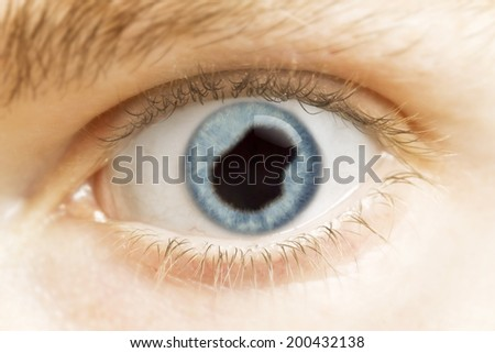 A close-up of an eye with the pupil in the shape of Nauru.(series)