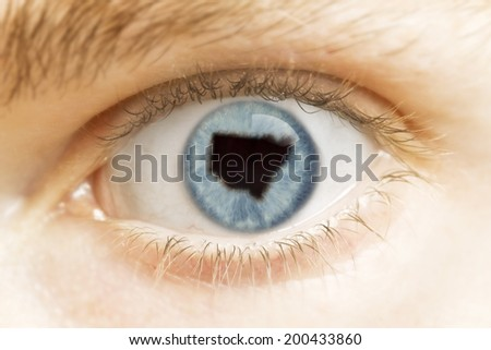 A close-up of an eye with the pupil in the shape of New South Wales.(series)