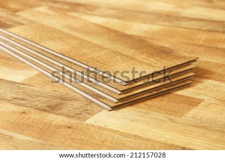 A close up of oak laminate flooring - stock photo