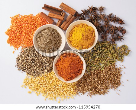 A close-up of spices in little bowls, on white background. - stock photo
