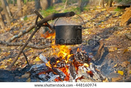 A close up of the bonfire in autumn forest. - stock photo
