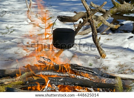 A close up of the bonfire in winter forest. - stock photo