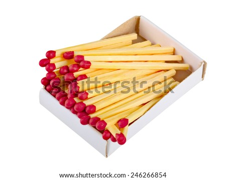 A close-up of wooden matches in a box  - stock photo