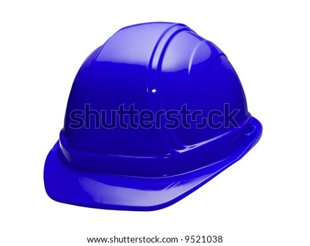 A close up on a blue hard hat isolated on a white background.