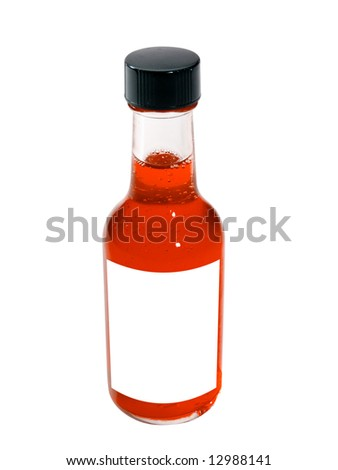 A close up on a bottle isolated on a white background with a blank label.