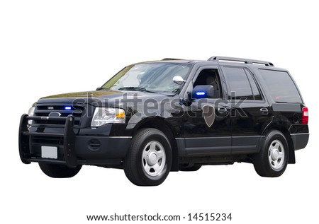 A close up on a government vehicle isolated on a white background.
