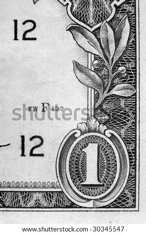 A close up on a one dollar bill. Shallow depth of field. - stock photo
