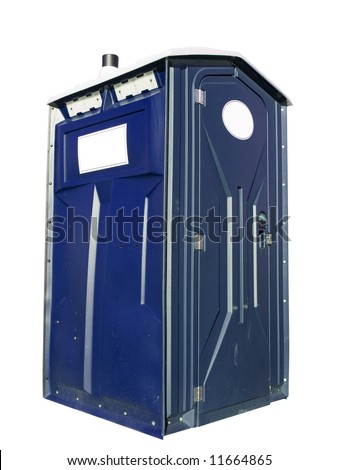 A close up on a plastic outhouse isolated on a white background.