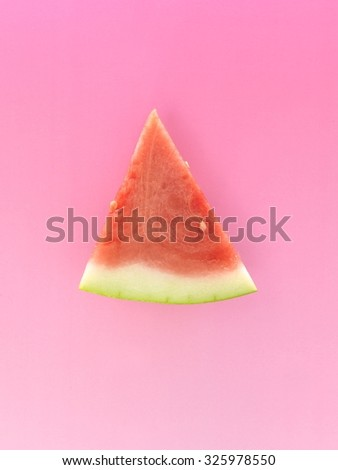 A close up photo of a slice of watermelon - stock photo