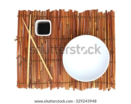 A close up photo of a table place mat setting - stock photo